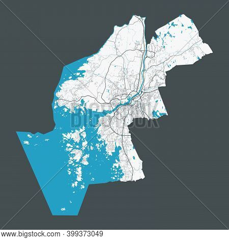 Gothenburg Map. Detailed Map Of Gothenburg City Administrative Area. Cityscape Panorama. Royalty Fre