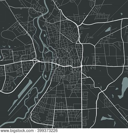 Urban City Map Of Halle, Saale. Vector Illustration, Halle, Saale Map Grayscale Art Poster. Street M