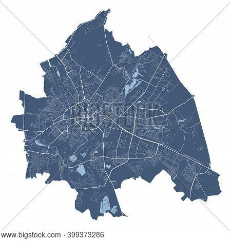 Kharkiv Map. Detailed Vector Map Of Kharkiv City Administrative Area. Cityscape Poster Metropolitan