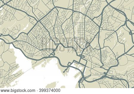 Vector Map Of Oslo, Norway, State Of Norway. Street Map Poster Illustration. Oslo Map Art.