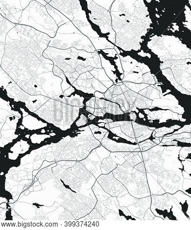 Urban City Map Of Stockholm. Vector Illustration, Stockholm Map Grayscale Art Poster. Street Map Ima