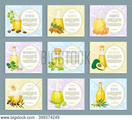 Set Of Pictures With Labels About Organic Products. Glass Vessels With Liquid For Hair Care. Castor