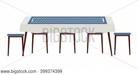 The Dining Room Design Flat Vector Illustration. Dining Table With Blue Tablecloth With Chairs Nearb