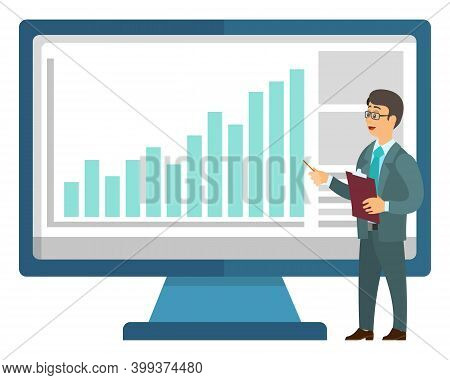 Worker Presenting Financial Infographic On Monitor Of Computer. Presenter Communication With Pc, Mar