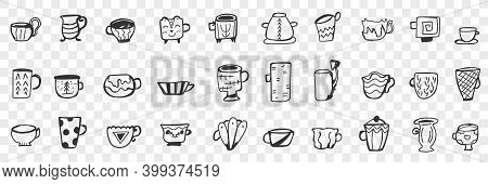 Tea Cups And Mugs Doodle Set. Collection Of Hand Drawn Various Stylish Mugs And Cups For Tea Coffee