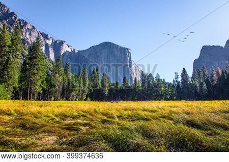 Yosemite Valley. The rock-monolith El Capitan. Yosemite Park is located on the slopes of the Sierra Nevada. Western Cordillera. The park is declared a World Heritage Site