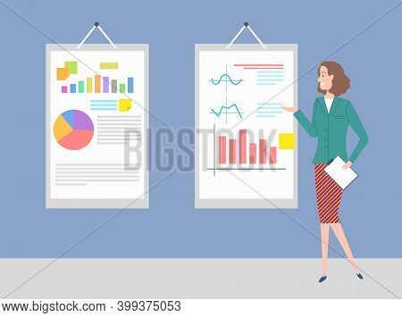Poster With Infocharts And Graphics Vector, Schemes On Hanging Boards, Woman With Clipboard And Info
