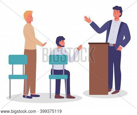 Executive Man Waving Hand, Greeting, Talking From Tribune To People, Office Worker In Costume And Co