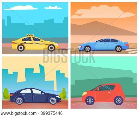 Cars On Roads Of Modern Cities Or Rural Areas Vector, Set Of Transportation. Oldschool Minivan Big V