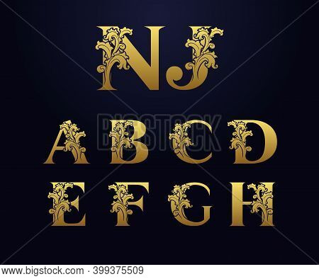 Set Golden Initial Letters A, B, C, D, E, F, G, H, N, J With Floral Leaves. Luxury Natural Logo Icon
