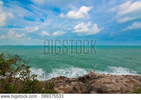 People Sit On Rocks And Watch The Waves, Natural Attraction Of Koh Samui In Thailand, A Rock Called