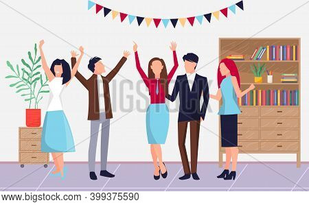 Celebrating Event In Office, Colleagues Or Partners Celebrate Special Date, Payday, Sucessful Deal,