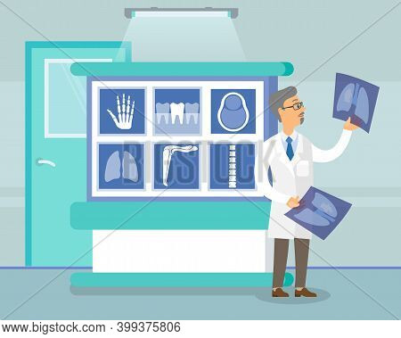 Oncologist Holding X-ray Picture Of Lungs. Man In White Coat Is Looking At A Photo. Male Character I