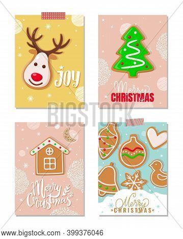 Joy And Merry Christmas Gingerbread Cookies Set Vector. Reindeer With Horns, Pine Tree Biscuit, Hous
