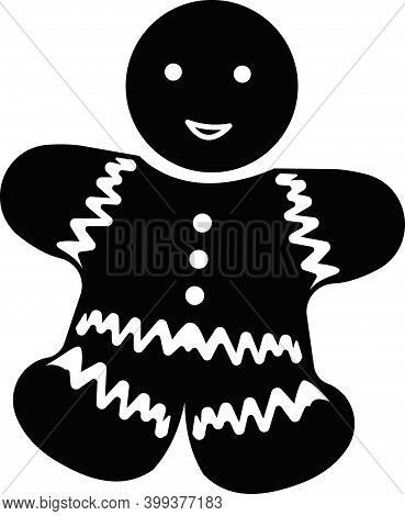Figurine Of A Smiling Christmas Cookie With Patterns.two Toys-bells On A Tree Branch. Vector Illustr