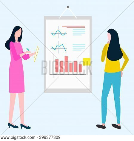 People Working On Analysis Of Information Gained From Business Results Vector, Woman Wearing Formal