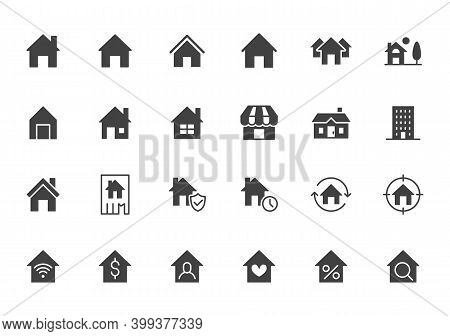 Home Flat Icons Set. House, Residential Building, Homepage, Property Mortgage Black Minimal Silhouet