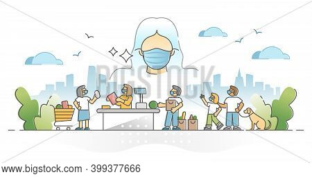 Wearing Masks As Respirator To Protect Health From Pandemic Outline Concept