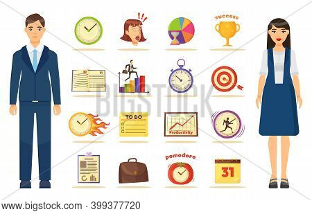 Collection Of Web Icons With Businesspeople. Productivity, To Do List, Target, Hard Working, Attenti