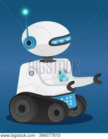 Futuristic Model Robot Or Android With Artificial Intelligence. Dark Blue Gradient Background. Track