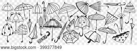 Umbrella Doodle Set. Collection Of Hand Drawn Various Open And Closed Umbrellas For Protecting From