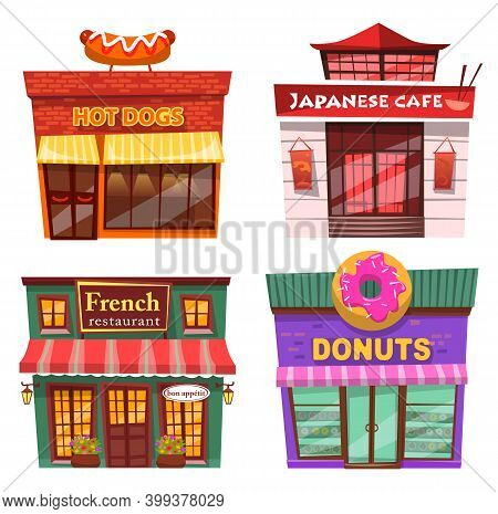 Collection Of Fast Food Exterior Of Diners And Cafe. Hot Dog And Donuts, Japanese Cuisine And French