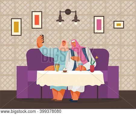 Smiling Cartoon Women Of Arab Nationality Are Sitting At Table In Cafe And Taking Selfie. Drinks And