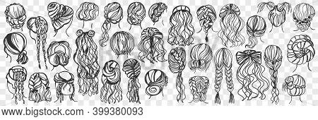 Female Hairstyle Doodle Set. Collection Of Hand Drawn Various Styles Of Woman Hair With Curly Strand