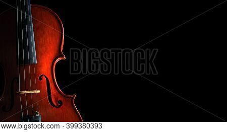 Beautiful Violin Close-up On Black Background. Copy Space