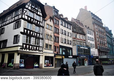 View Landscape Cityscape And Classic Retro Vintage Building Old Town For French People And Traveler