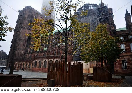 French People And Travelers Foreign Travel Visit Respect Praying At Strasbourg Church Or The Cathedr