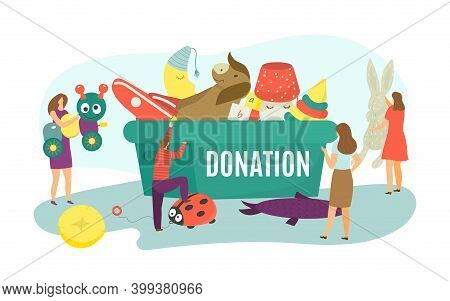Charity Donation, Flat Assistance To Children, Box With Toy Vector Illustration. Volunteer People Do