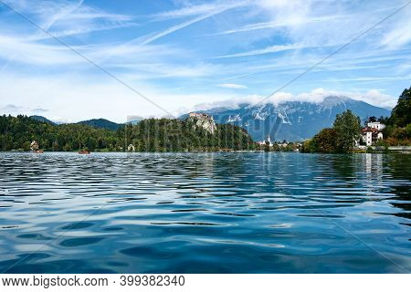 Beautiful Scenic View On The Banks Of The Slovenian Lake Bled