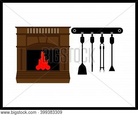 Fireplace With Burning Fire And Fireplace Tool On White Background