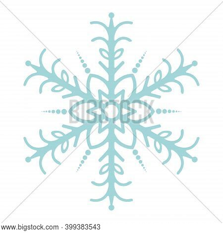 Snowflake. Festive Ornament. Vector Illustration. Isolated White Background. Flat Style. A Fragile C