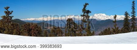 Himalaya, Panoramic View Of Indian Himalayas, Great Himalayan Range, Uttarakhand India, Gangotri Ran