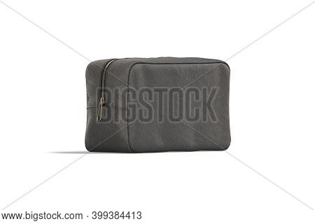 Blank Black Canvas Cosmetic Bag Mock Up, Half-turned View, 3d Rendering. Empty Closed Linen Beautici