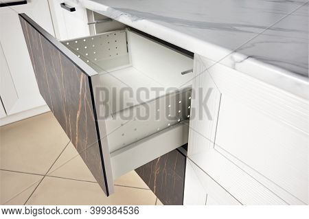 Kitchen Cabinet Door Drawer Side View With Soft Quiet Closer Damper Buffers Cushion, Solution To Slo