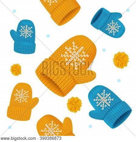 Realistic Detailed 3d Knitted Woolen Mittens With Snowflake Seamless Pattern Background On A White.