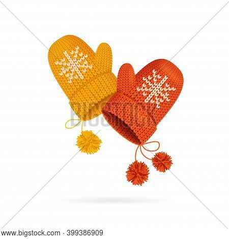 Realistic Detailed 3d Knitted Woolen Mittens With Snowflake Set Warm Seasonal Accessory. Vector Illu