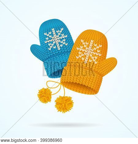 Realistic Detailed 3d Knitted Woolen Mittens With Snowflake Set. Vector Illustration Of Mitten With