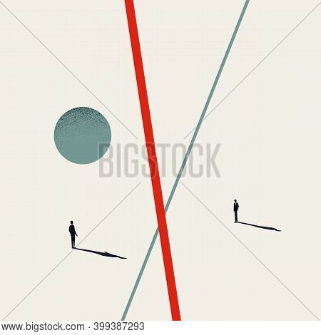 Business Disagreement Vector Concept. Symbol Of Conflict, Quarrel, Different Opinions And Communicat