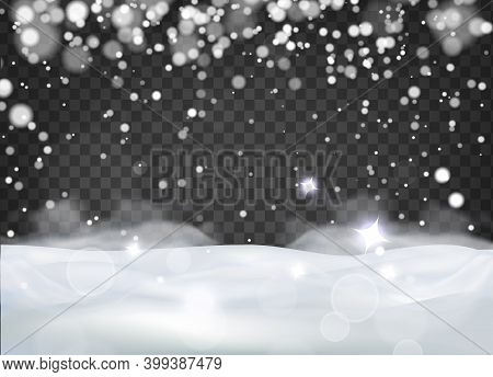 Natural Winter Christmas Background, Heavy Snowfall, Snowflakes, Drifts On A Transparent Background.
