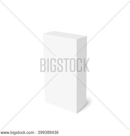 Realistic Blank Cardboard Packaging Box Mock Up. Vector Isolated Illustration On White Background.