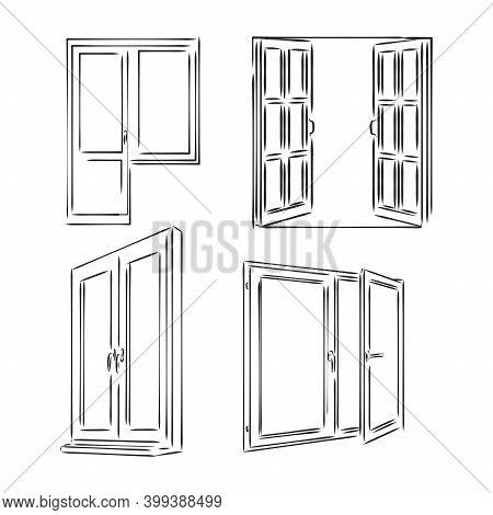 Window. Hand Drawn Sketch Illustration. Window Vector Sketch Illustration