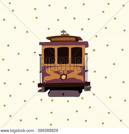 Retro Tram Poster. Vintage American Tramcar Urban Transport. Streetcar Electric Cars In The States P