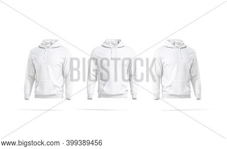 Blank White Hoodie With Hood Mockup, Front And Side View, 3d Rendering. Empty Cotton Hoodi With Long