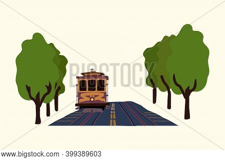 An Illustration Of A Detailed Urban Transport Tram. Electric Public Transport System With The Image