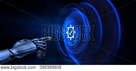 Standard Standardization Certification Quality Control Assurance. Robot Hand Pressing Button 3d Rend