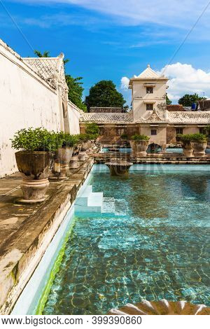Taman Sari water palace of Yogyakarta in Java island Indonesia - travel and architecture background